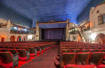 Arlington Theatre, Santa Barbara: Stage from rear of Orchestra seating at House Right