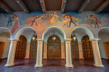 Mural above theatre entrance, depicting various traditional Spanish dances