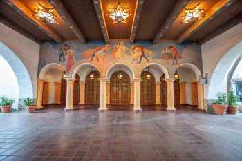 Arlington Theatre, Santa Barbara: Loggia from the Paseo