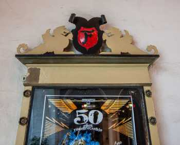 Arlington Theatre, Santa Barbara: Poster Case closeup with Fox shield at top