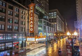 Chicago Theatre: Chicago Theatre and State Street by night