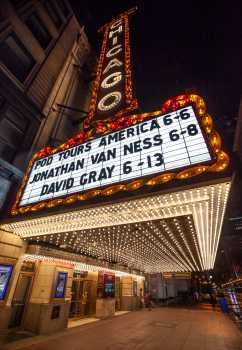 Chicago Theatre: Underneath Marquee at night