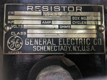 Earl Carroll Theatre, Hollywood: Resistor bank specification plate