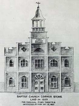 The original 1833 church building, adapted into a theatre in 1861