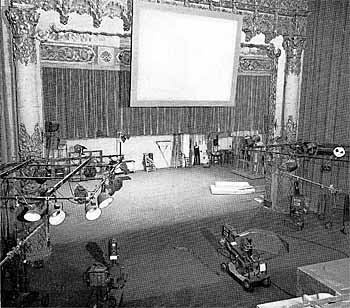 The Hollywood Playhouse after conversion into a television theatre for NBC - note the proscenium still in place with a projection screen hung in front of it top center
