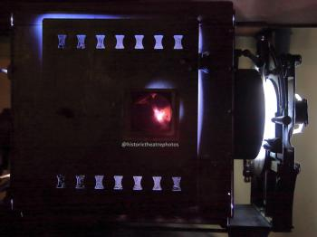 Los Angeles Theatre: Brenkert F7 Master Brenograph closeup showing carbon arc