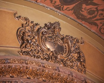 Plasterwork above Proscenium Arch from side