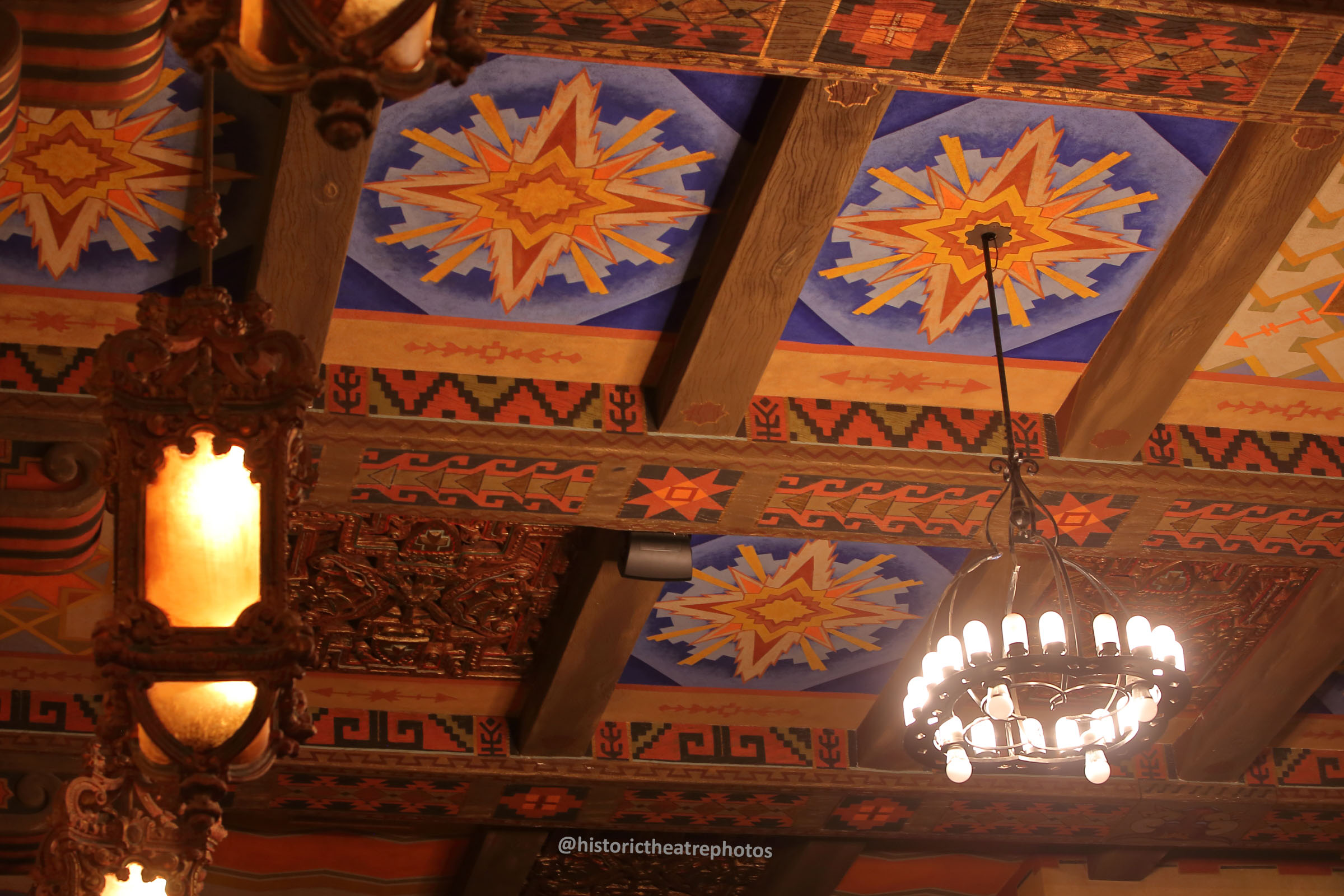 San Gabriel Mission Playhouse: Ceiling and Lighting detail