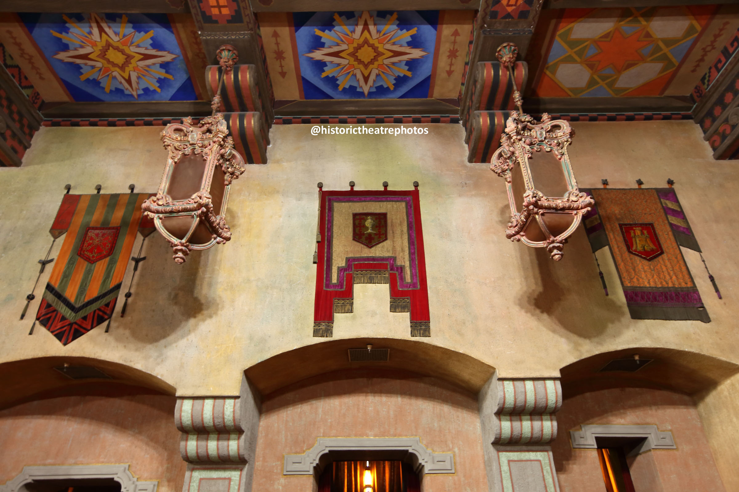 San Gabriel Mission Playhouse: Tapestries gifted in 1927 by King of Spain