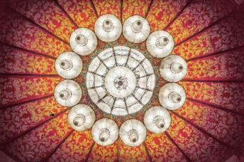 Shrine Auditorium, University Park: Chandelier closeup from below