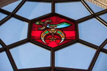 Shrine Auditorium, University Park: Vestibule window closeup
