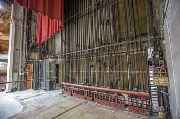 State Theatre, Los Angeles: Counterweight Wall from Upstage