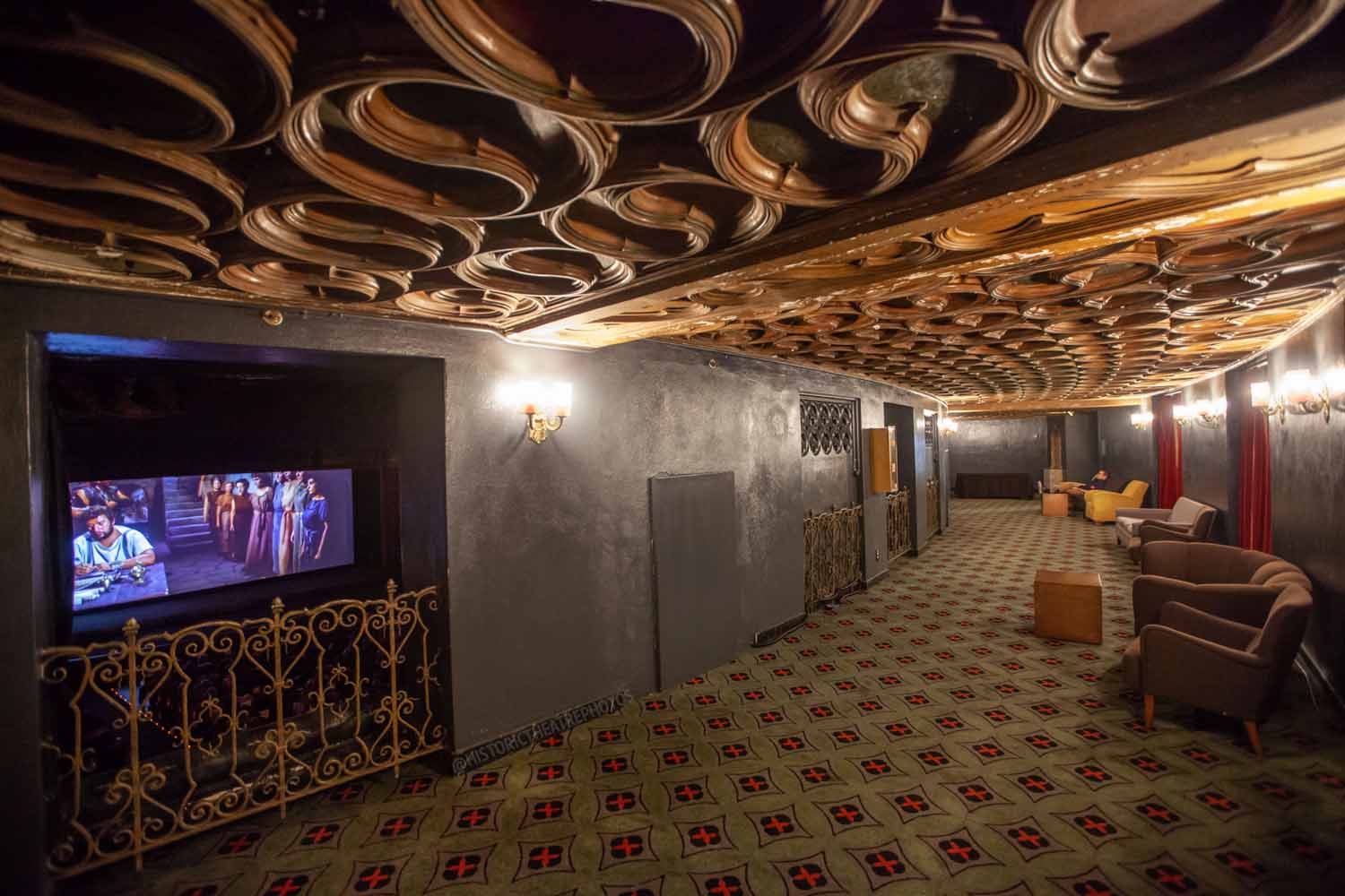 The Theatre at Ace Hotel, Los Angeles: Mezzanine Corridor with Movie Screening
