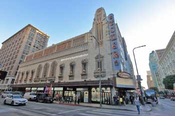 Tower Theatre, Los Angeles: 8th St façade in 2018