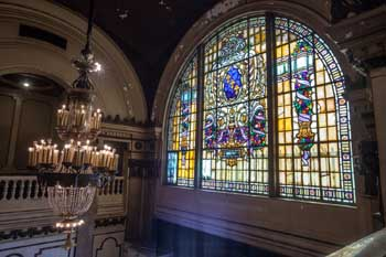 Tower Theatre, Los Angeles: Stained glass window from Upper Level side