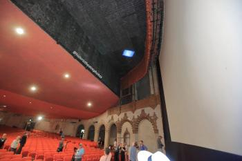 Hollywood Warner Theatre: Auditorium from side showing walled-off balcony