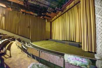 Hollywood Warner Theatre: Balcony House Right Auditorium  showing curtains closed in front of Projection Screen