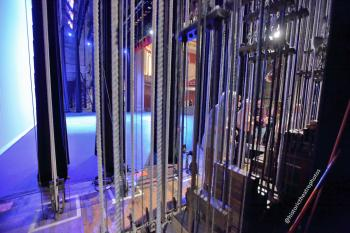 Wilshire Ebell Theatre: Stage from behind Counterweight fly lines