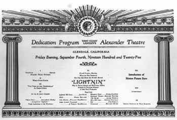 Dedication Program from the opening night on 4th September 1925, courtesy National Register of Historic Places (150KB PDF)
