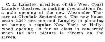 News of the theatre's opening as printed in the 12th September 1925 edition of <i>Moving Picture World</i>, held by the Museum of Modern Art in New York and digitized by the Internet Archive (67KB PDF)