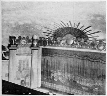 Auditorium and house curtain as featured in the 18th February 1928 edition of <i>Motion Picture News</i>, held by the Museum of Modern Art Library in New York and digitized by the Internet Archive (JPG)