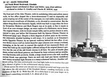 Extract from <i>The City Observed: Los Angeles: A Guide to Its Architecture and Landscapes</i> by C.W. Moore et al, that mistakenly attributes the Alex Theatre to architect firm Meyer & Holler (1MB PDF)