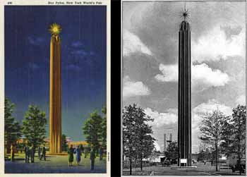Side-by-side renderings of the <i>Star Pylon</i> at the 1939 New York World's Fair, which provided the inspiration for the neon spire and ball added in 1940 (JPG)