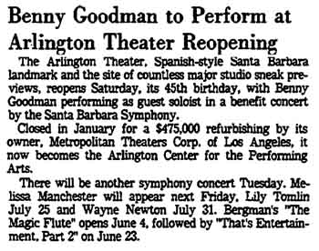 Article announcing Benny Goodman headlining at the reopening of the theatre on 22nd May 1976, as printed in the 21st May 1976 edition of the <i>Los Angeles Times</i> (250KB PDF)