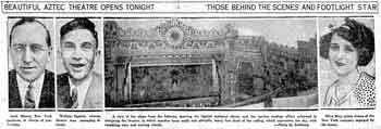 Preview of the opening of the Aztec Theatre as published in the 4th June 1926 edition of the <i>San Antonio Light</i> (610KB PDF)