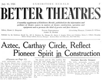 Three-page feature, including photos, of the theatre's opening as featured in the 10th July 1926 edition of <i>Exhibitors Herald</i>, held by the Museum of Modern Art Library in New York and scanned online by the Internet Archive (2MB PDF)