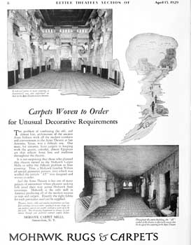 Carpet advertisement featuring the Aztec Theatre, from the 13th April 1929 edition of <i>Exhibitors Herald-World</i>, held by the Museum of Modern Art Library New York and scanned online by the Internet Archive (785KB PDF)
