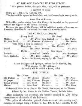 Programme for the theatre's opening night on 30th May 1766 (260KB PDF)