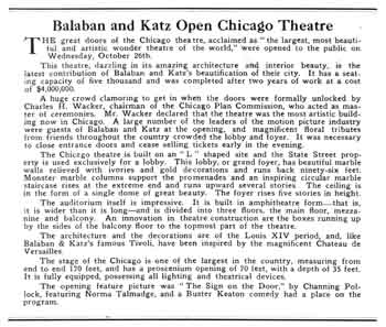 News of the theatre's opening, as published in the 5th November 1921 edition of <i>Motion Picture News</i>, held by the Museum of Modern Art Library in New York and digitized by the Internet Archive (345KB PDF)