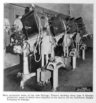 Details of the theatre's projection booth, as printed in the 24th December 1921 edition of <i>Exhibitors Herald</i>, held by the Media History Digital Library and digitized by the Internet Archive (195KB PDF)