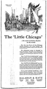 "Details of the rehearsal/preview theatre built on top of the theatre's roof, dubbed the ""Little Chicago"", as printed in the 19th September 1922 edition of the <i>Chicago Daily Tribune</i> (285KB PDF)"