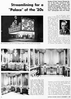 Details of the theatre's 1950s modernization, from the 7th November 1953 edition of <i>Motion Picture Herald</i>, held by the Academy of Motion Picture Arts and Sciences and digitized by the Internet Archive (2MB PDF)