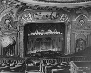 The auditorium in the 1920s showing the original French-themed murals, courtesy Theatre Historical Society (JPG)