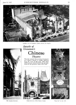 Design details of Grauman's Chinese Theatre as featured in the 11th June 1927 edition of <i>Exhibitors Herald</i> (1.1MB PDF)