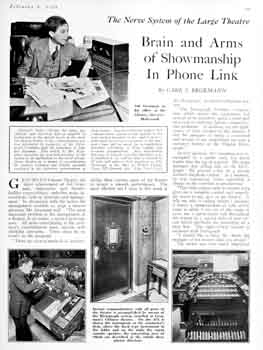 2-page overview of the control and communication features at the theatre as printed in the 4th February 1928 edition of <i>Motion Picture News</i> (1.4MB PDF)