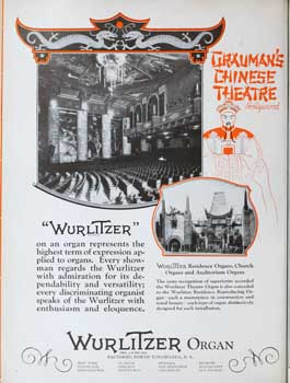 Wurlitzer advertisement featuring the Chinese Theatre's organ, as printed in a February 1928 edition of <i>Motion Picture News</i> (660KB PDF)