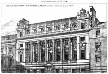 The classical façade of the Union Bank on Ingram Street, many parts of which would be transferred to the new theatre in the Gorbals