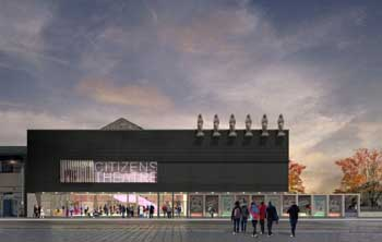 Rendering, by Bennetts Associates, of the new entrance to the Citizens Theatre following completion of the 2019-2021 redevelopment project (JPG)