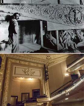 1914 photo of Hannibal Pianta beside one of the large plaster pieces for the Empire Theatre as printed in the <i>San Antonio Express-News</i>; and below, the piece in place above the house right boxes (JPG)