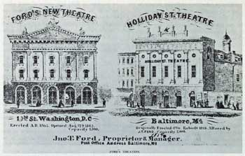 Exterior drawing of Ford's New Theatre (1863); courtesy University of Georgia and scanned online by the Internet Archive (JPG)
