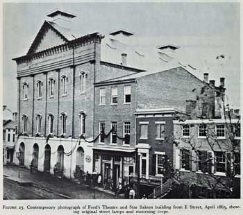 Exterior of Ford's New Theatre in the aftermath of Lincoln's assassination; courtesy University of Georgia and scanned online by the Internet Archive (JPG)