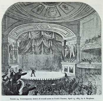 Sketch of Lincoln's assassination at Ford's New Theatre on 14th April 1865; courtesy University of Georgia and scanned online by the Internet Archive (JPG)