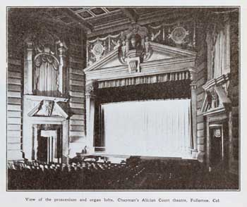 """View of the proscenium and organ lofts"", a photo which appeared in the 31 October 1925 issue of <i>Motion Picture News</i>, held by the Museum of Modern Art Library (New York) and digitized by the Internet Archive (JPG)"