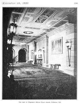 """The foyer of Chapman's Alician Court theatre"", a photo which appeared in the 28 November 1925 issue of <i>Motion Picture News</i>, held by the Museum of Modern Art Library (New York) and digitized by the Internet Archive (JPG)"