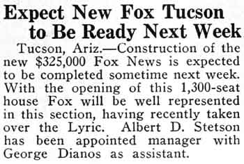 Construction update from the 11th March 1930 edition of <i>The Film Daily News</i> (130KB PDF)
