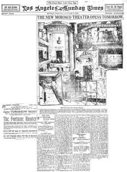 Full-page preview of the new theatre as printed in the 5th January 1913 edition of the <i>Los Angeles Times</i> (570KB PDF)